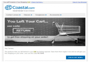 Coastal eyewear abandoned shopping cart email